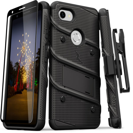 Zizo Bolt Google Pixel 3A Tough Case & Screen Protector - Black