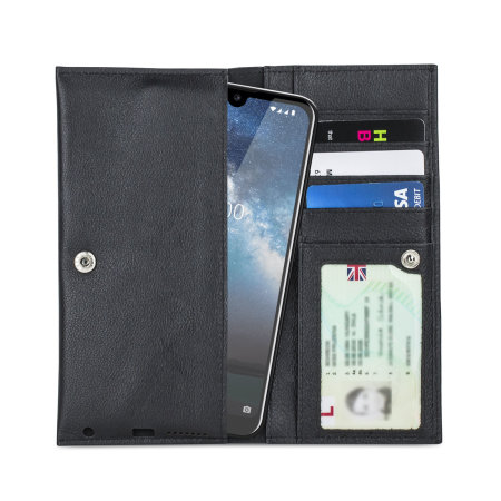 Olixar Primo Genuine Leather Nokia 2.2 Wallet Case - Black