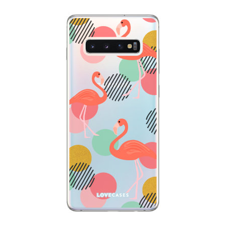 LoveCases Samsung Galaxy S10 Plus Flamingo Clear Phone Case