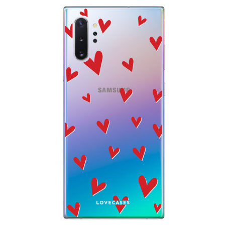 LoveCases Samsung Note 10 Plus 5G Hearts Phone Case - Clear Red