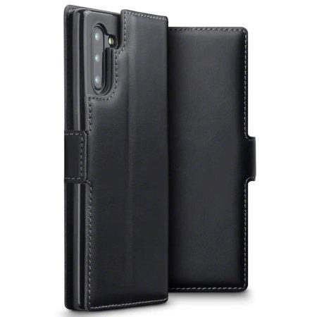 Olixar Slim Genuine Leather Samsung Galaxy Note 10 Wallet Case - Black