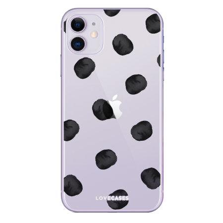 LoveCases iPhone 11 Polka Phone Case - Clear Black