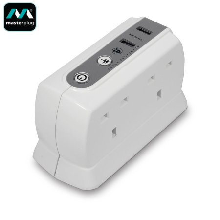 Masterplug Surge Protected 4 Plug Power Block With Dual USB 2M - White