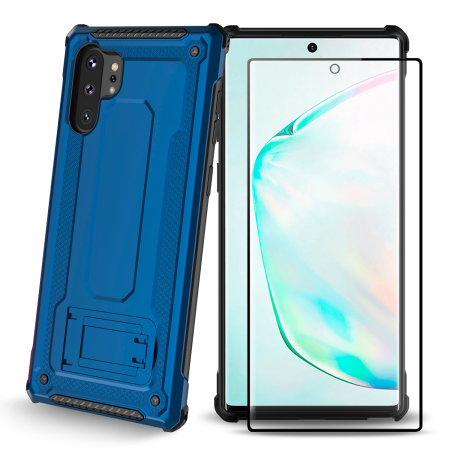Olixar Manta Galaxy Note 10 Plus Tough Case & Tempered Glass - Blue