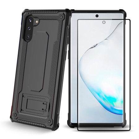 Olixar Manta Galaxy Note 10 Tough Case & Tempered Glass - Black