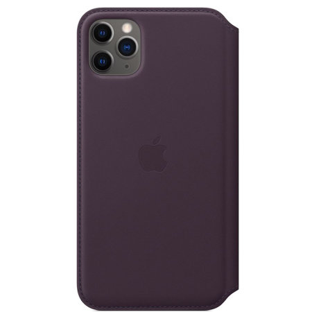 Official Apple iPhone 11 Pro Max Leather Folio Case - Aubergine