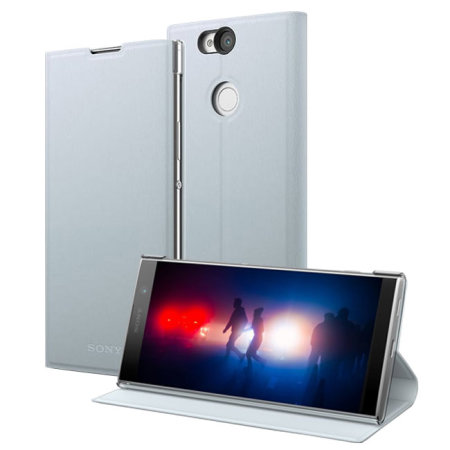Official Sony Xperia XA2 Plus Style Cover Stand Case - Silver