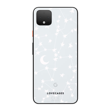 LoveCases Google Pixel 4 Gel Case - White Stars And Moons