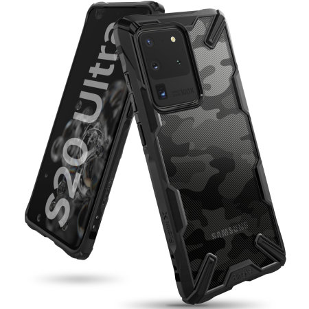 Ringke Fusion X Design Samsung Galaxy S20 Ultra Tough Case- Camo Black