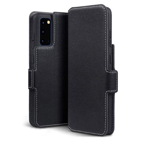 Olixar Slim Genuine Leather Samsung Galaxy S20 Wallet Case - Black