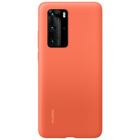 Official Huawei P40 Pro Silicone Protective Case - Coral Orange