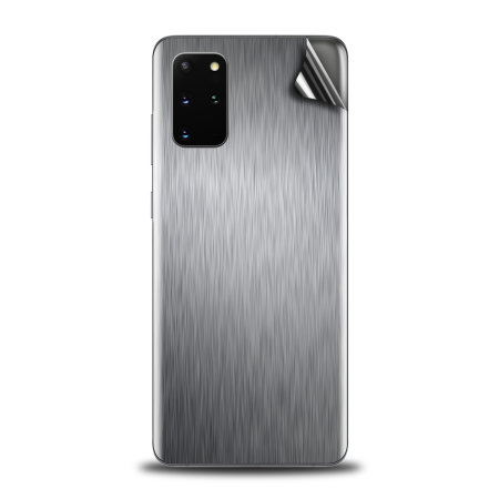 Olixar Samsung Galaxy S20 Plus Phone Skin - Brushed Metal Silver