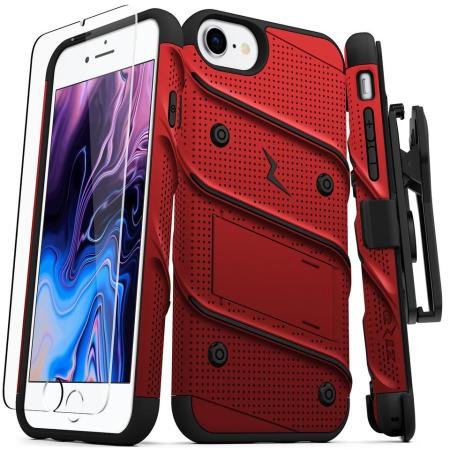 Zizo Bolt Series iPhone 7 / 8  Case & Screen Protector - Red/Black