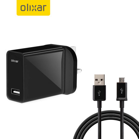 Olixar High Power UK Mains Charger With Micro-USB Cable 1m - Black