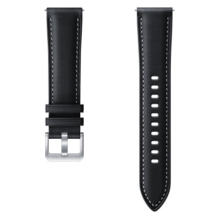 Official Samsung Watch Stitch Leather 20mm Strap - Black
