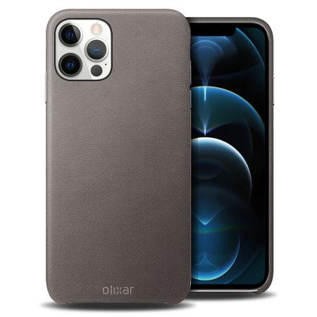 Olixar Genuine Leather iPhone 12 Pro Max Case - Grey