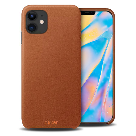 Olixar Genuine Leather iPhone 12 Case - Brown