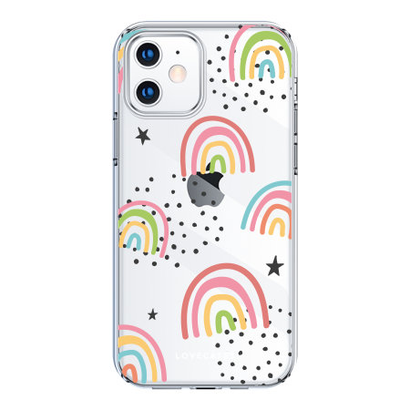 LoveCases iPhone 12 mini Abstract Rainbow Case - Clear