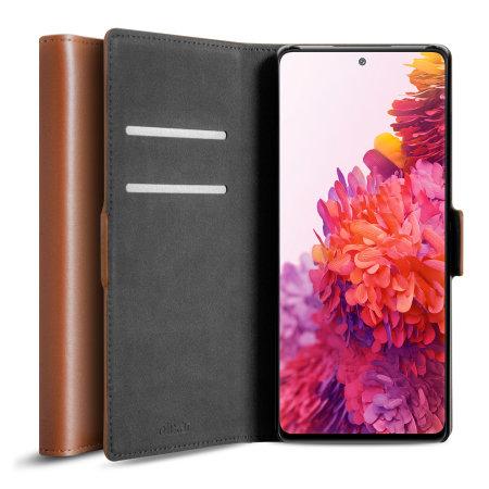 Olixar Genuine Leather Samsung Galaxy S20 FE Wallet Case - Brown