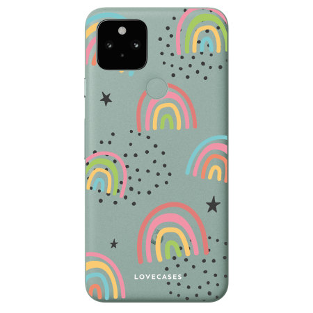 Lovecases Google Pixel 5 Abstract Rainbow Case - Clear
