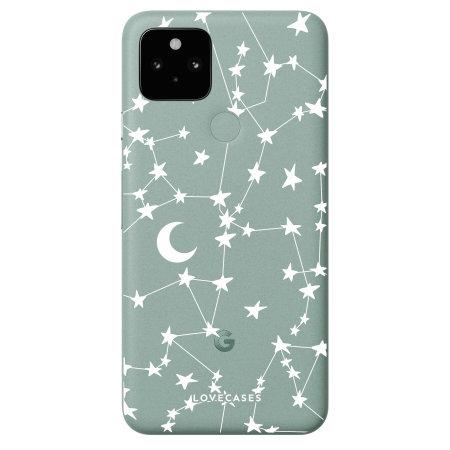 LoveCases Google Pixel 5 Gel Case - White Stars & Moons