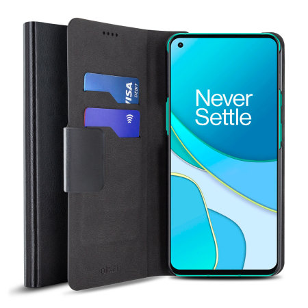 Olixar Leather-Style OnePlus 8T Wallet Stand Case - Black