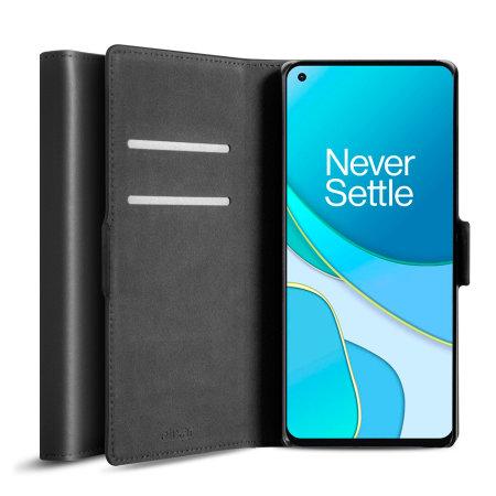 Olixar Genuine Leather OnePlus 8T Wallet Stand Case - Black