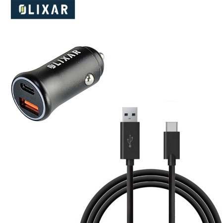 Olixar 36W PD Fast Car Charger With 1m USB-C Charging Cable - black