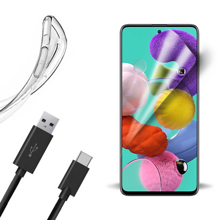 Olixar Essential Samsung A51 Case, Screen Protector & Cable Pack