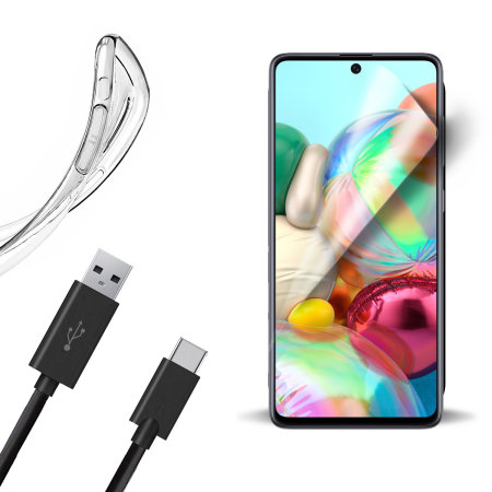 Olixar Essential Samsung A71 Case, Screen Protector & Cable Pack