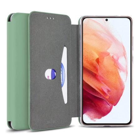 Olixar Silicone Samsung Galaxy S21 Plus Wallet Case - Pastel Green