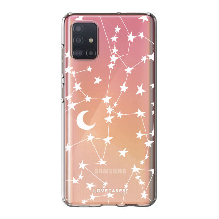 LoveCases Samsung Galaxy A52 Gel Case - White Stars & Moons