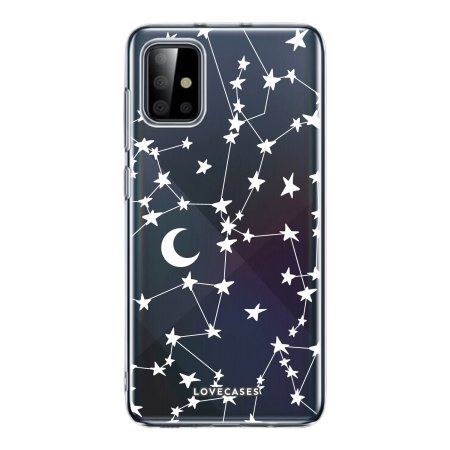 LoveCases Samsung Galaxy A72 Case - White Stars & Moon Case