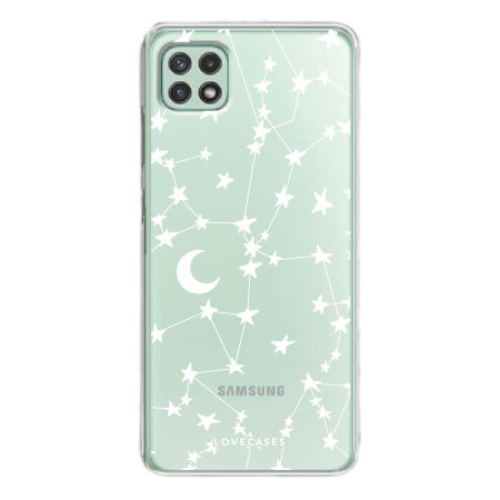 LoveCases Samsung Galaxy A22 5G Gel Case - White Stars And Moons