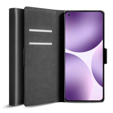 Olixar Genuine Leather OnePlus 9 Pro Wallet Stand Case - Black