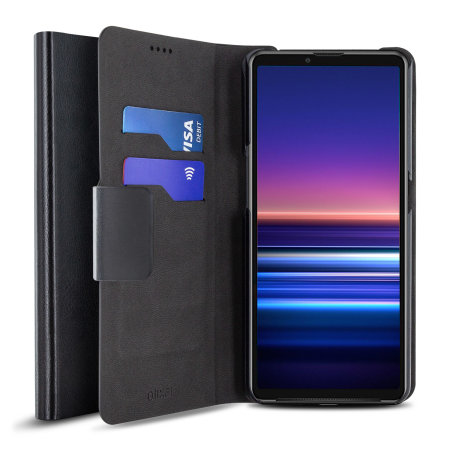 Olixar Leather-Style Sony Xperia 10 III Wallet Stand Case - Black