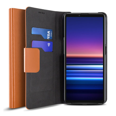 Olixar Leather-Style Sony Xperia 10 III Wallet Stand Case - Brown