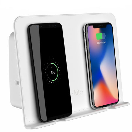Kit Qi 10W Duo Wireless Wall Charger W/ USB-A Port - White