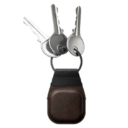 Nomad Apple AirTags Horween Leather Secure Keychain - Brown