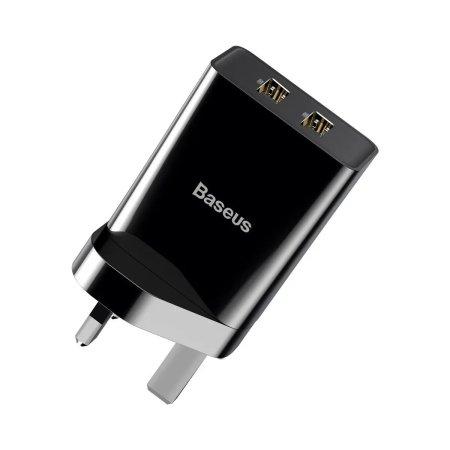 Baseus Speed Mini QC 10.5W Dual Port USB-A Mains Charger - UK - Black