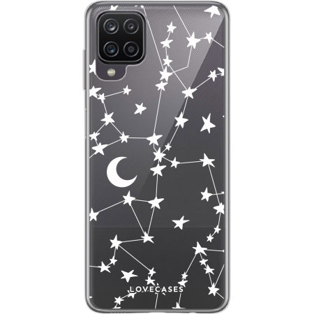 LoveCases Samsung Galaxy A12 Gel Case - White Stars And Moons