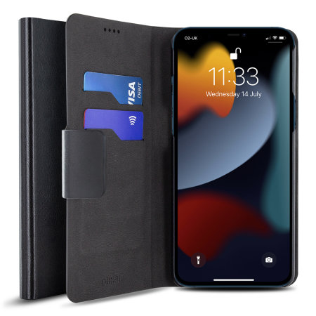 Olixar Leather-Style iPhone 13 Pro Max Wallet Stand Case - Graphite