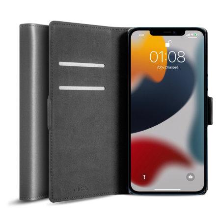 Olixar Genuine Leather iPhone 13 Wallet Case - Grey