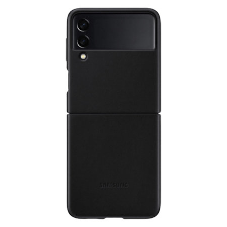 Official Samsung Galaxy Z Flip 3 Genuine Leather Cover Case - Black