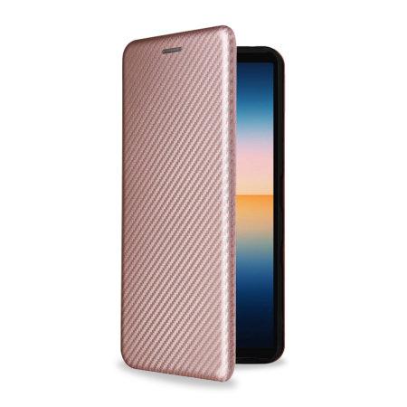 Olixar Carbon Fibre Sony Xperia 1 III Wallet Stand Case - Pink
