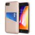 Coque iPhone 8 / 7 Olixar effet carbone avec range carte – Or rose 1