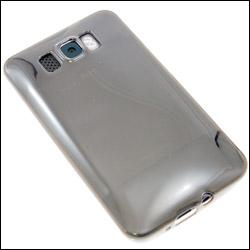 HTC HD2 dans sa coque FlexiShield Transparente vue arrière