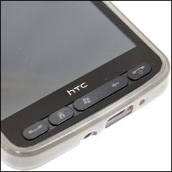 Vue détaillée du HTC HD2 dans sa coque FlexiShield Transparente