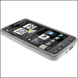 HTC HD2 dans sa coque FlexiShield Transparente vue de face