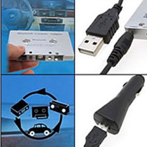 Adaptateur Cassette Bluetooth avec câble usb et chargeur voiture